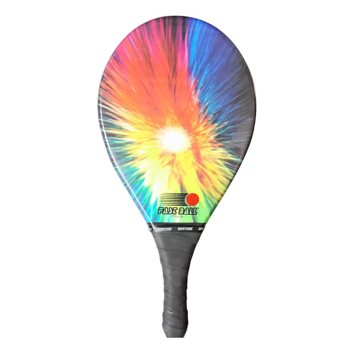 Raquete de Frescobol de Fibra Fast Ball com Estampa Colorida