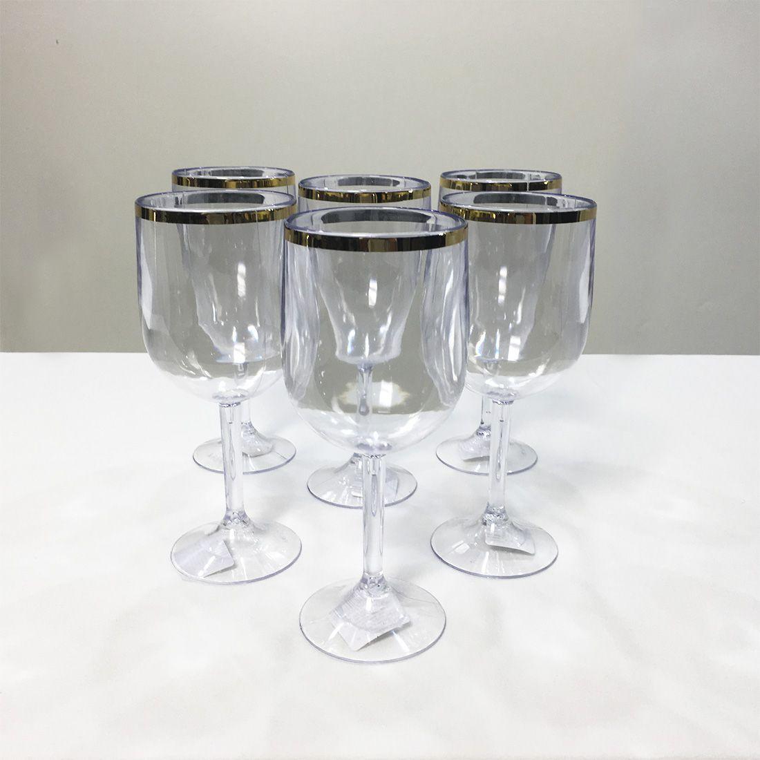 Kit Taça para Vinho 290ml Dec Cristal Linha Ouro