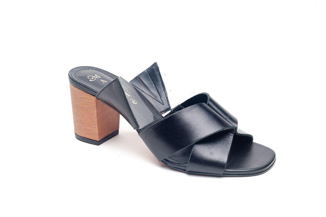 Sandália Salto Médio Preto