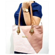 Bolsa Fashion Listra -Rose/Branca