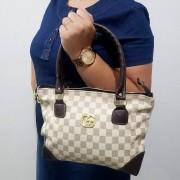 Bolsa Feminina Fashion estampa Xadrez Bege/Marrom
