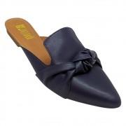 Mule Confort Napa Azul Marinho com Nó