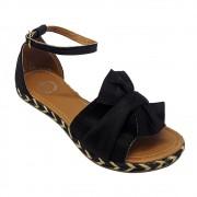 Sandália Super Luxo Nobuck Preto com Laço