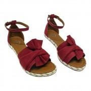 Sandália Super Luxo Nobuck Vermelho com Laço