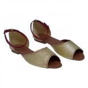 Sandália Tradicional Dourada/Vermelho