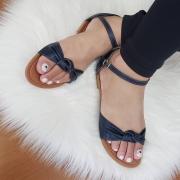 Sandália Tradicional Napa/Croco Azul Marinho-Nó