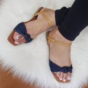 Sandália Tradicional Napa/Jeans Caramelo-Nó