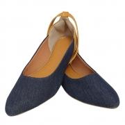 Sapatilha Confort  C/ Amarração Tecido Jeans/Napa Caramelo