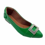 Sapatilha Confort Heloká Bico Fino Verniz Verde