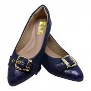Sapatilha Confort  Napa/Croco Azul Marinho Com Fivela-Dourada