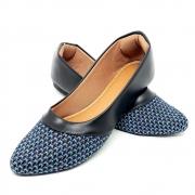 Sapatilha Confort Napa/Preto Tecido Juta Azul