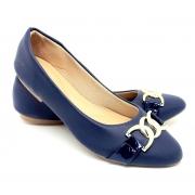 Sapatilha Confort  Napa/Verniz Azul Marinho com ABS