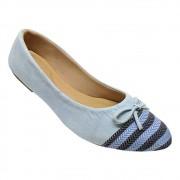 Sapatilha Confort Nobuck/Tecido Azul Celeste