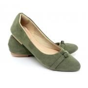 Sapatilha Confort  Nobuck Verde com Nó