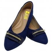 Sapatilha Confort  Nobuck/Verniz Azul Marinho com Fivela