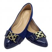 Sapatilha Confort Nobuck/verniz Azul Marinho -Fivela Dourada