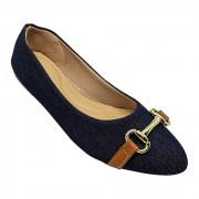 Sapatilha Confort Tecido Jeans Fivela Caramelo/Abs Dourado