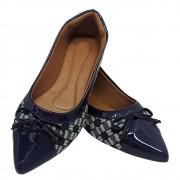 Sapatilha Confort Tecido/verniz Azul Marinho laço