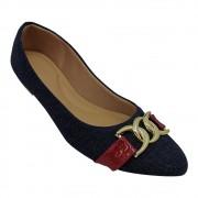 Sapatilha Confort Tecido/Verniz Jeans/Vermelho com ABS