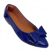 Sapatilha Confort  Verniz Azul Escuro -Laço