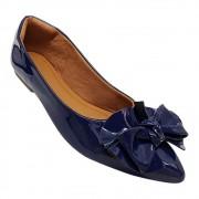 Sapatilha Confort Verniz Azul Marinho Laço