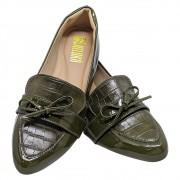 Sapatilha Confort  Verniz/Croco Verde Militar com Laço