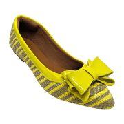 Sapatilha Confort  Verniz/Tecido Amarelo