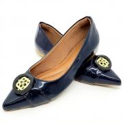 Sapatilha Super Luxo Verniz  Azul Marinho Fivela Dourada/Preto