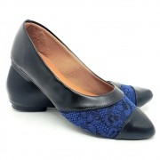 Sapatilha Tradicional Napa Preto/Estampa Tecido Azul