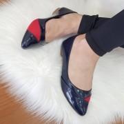 Sapatilha Tradicional Verniz Azul Marinho/vermelho Croco