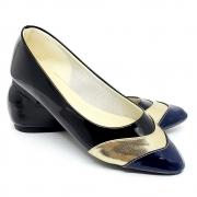 Sapatilha  Tradicional Verniz Preto/Azul/Dourado