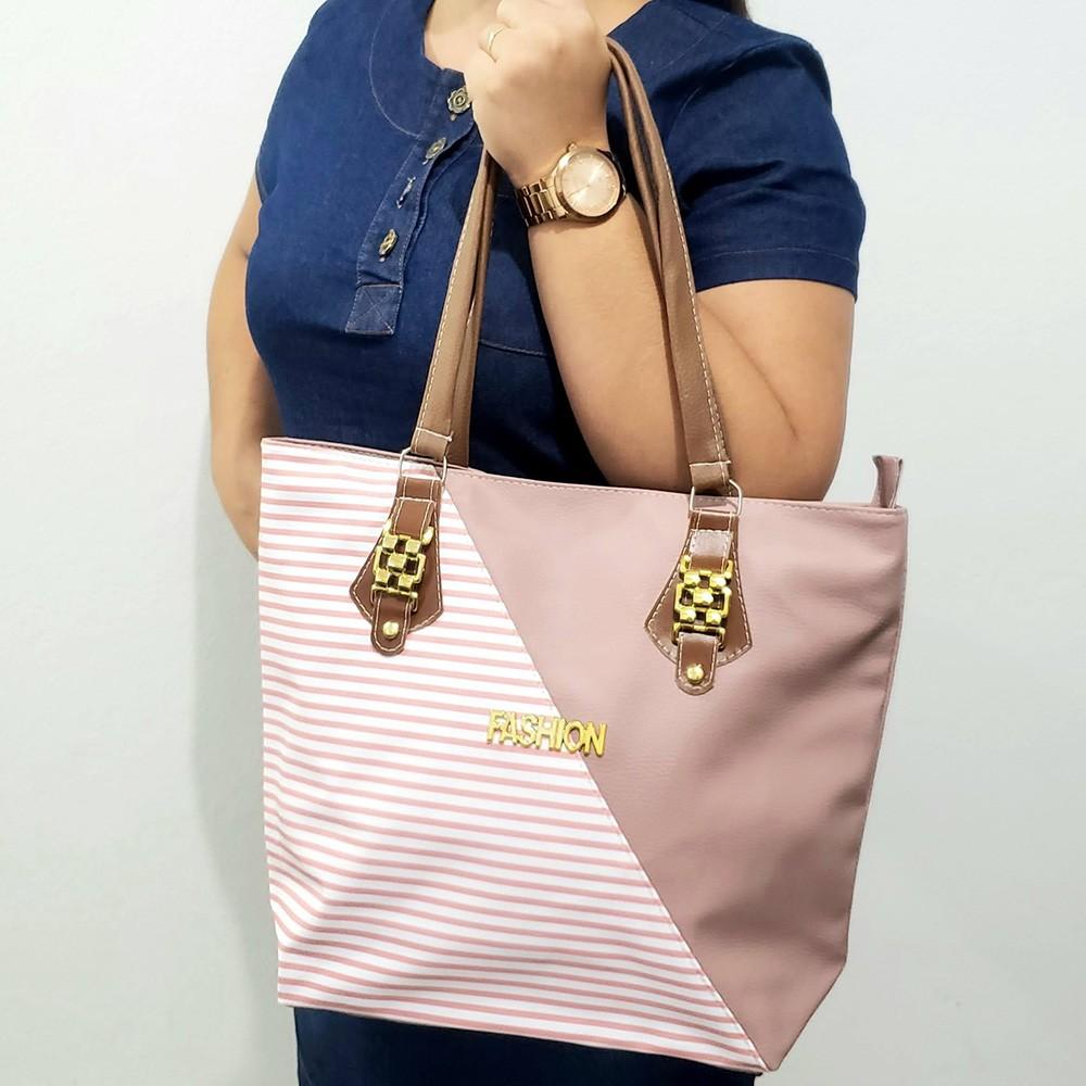 Bolsa Fashion Listra -Rose/Branca