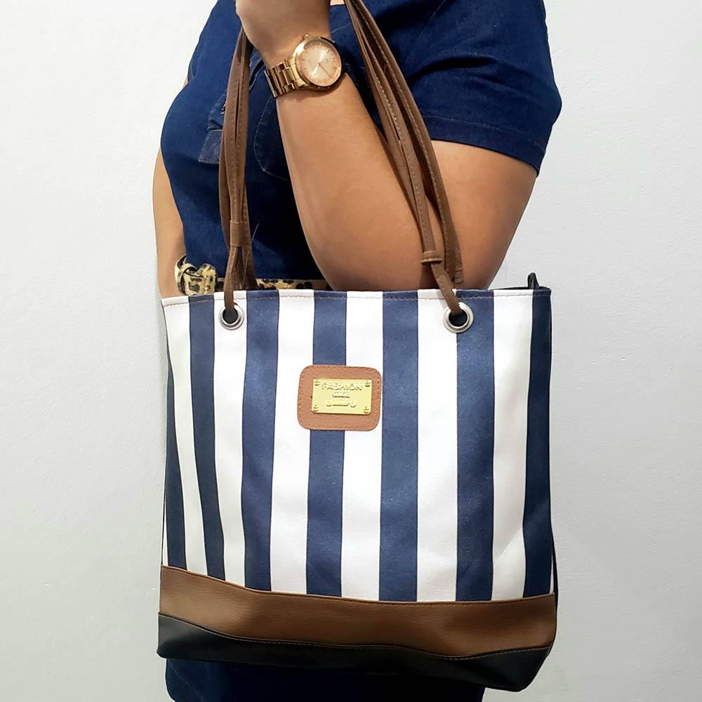 Bolsa Feminina Fashion Listra -Couro Sintético Listra/Caramelo