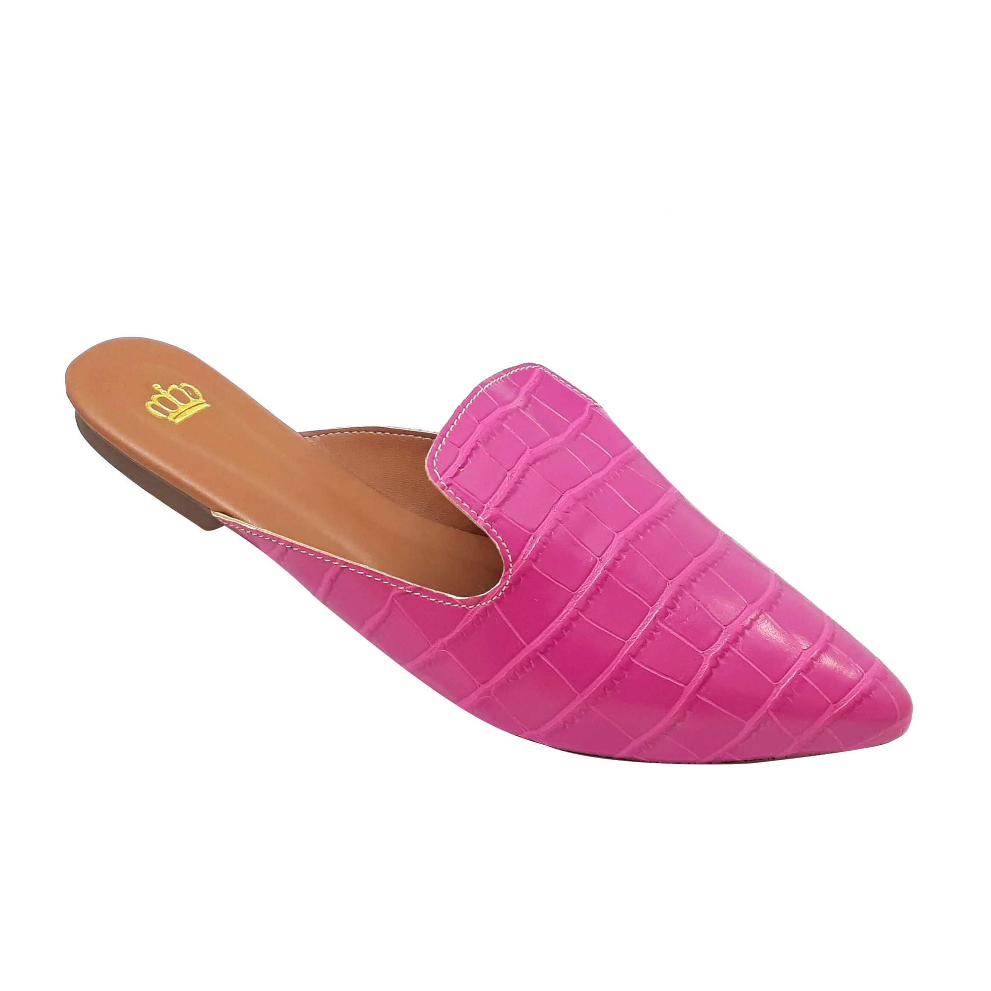 Mule Confort Heloká Bico Fino Croco Stone Pink
