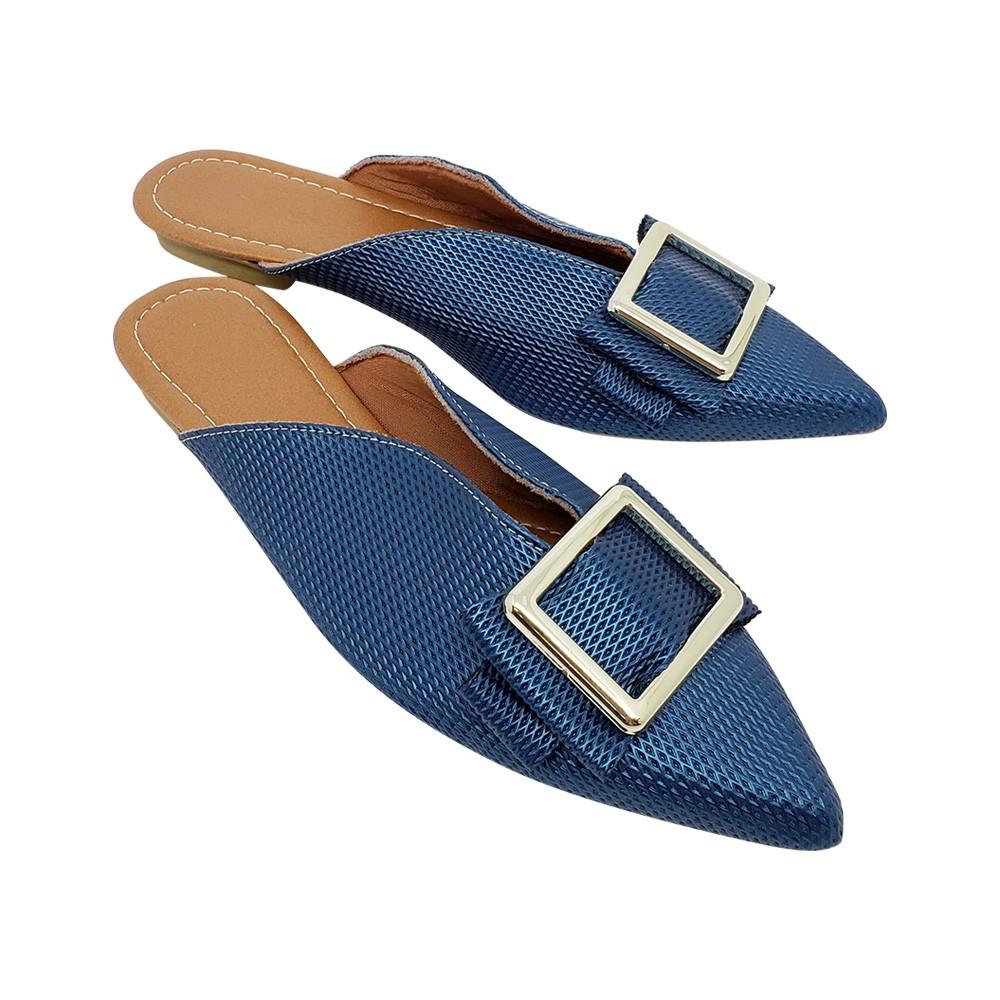 Mule Super Luxo Napa-Azul Turquesa