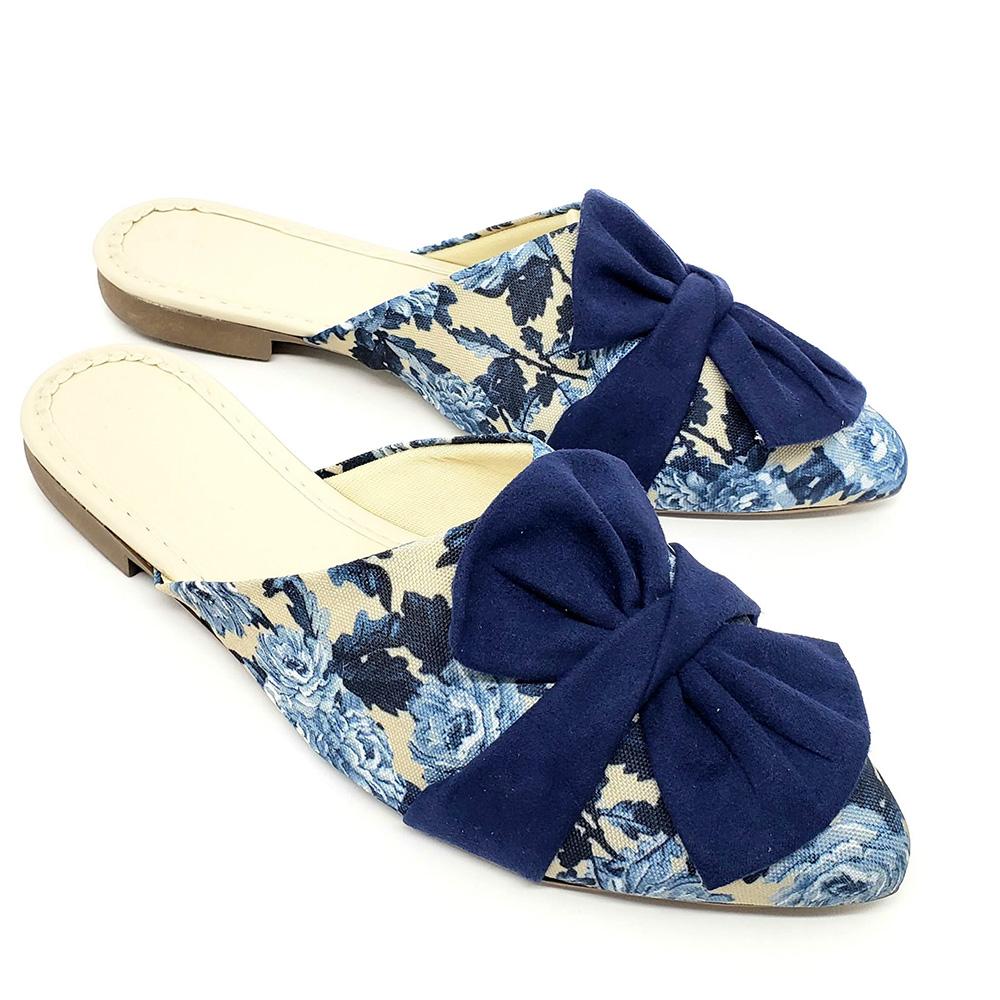 Mule Tradicional Heloká Tecido Estampado Flor Azul Marinho-Laço