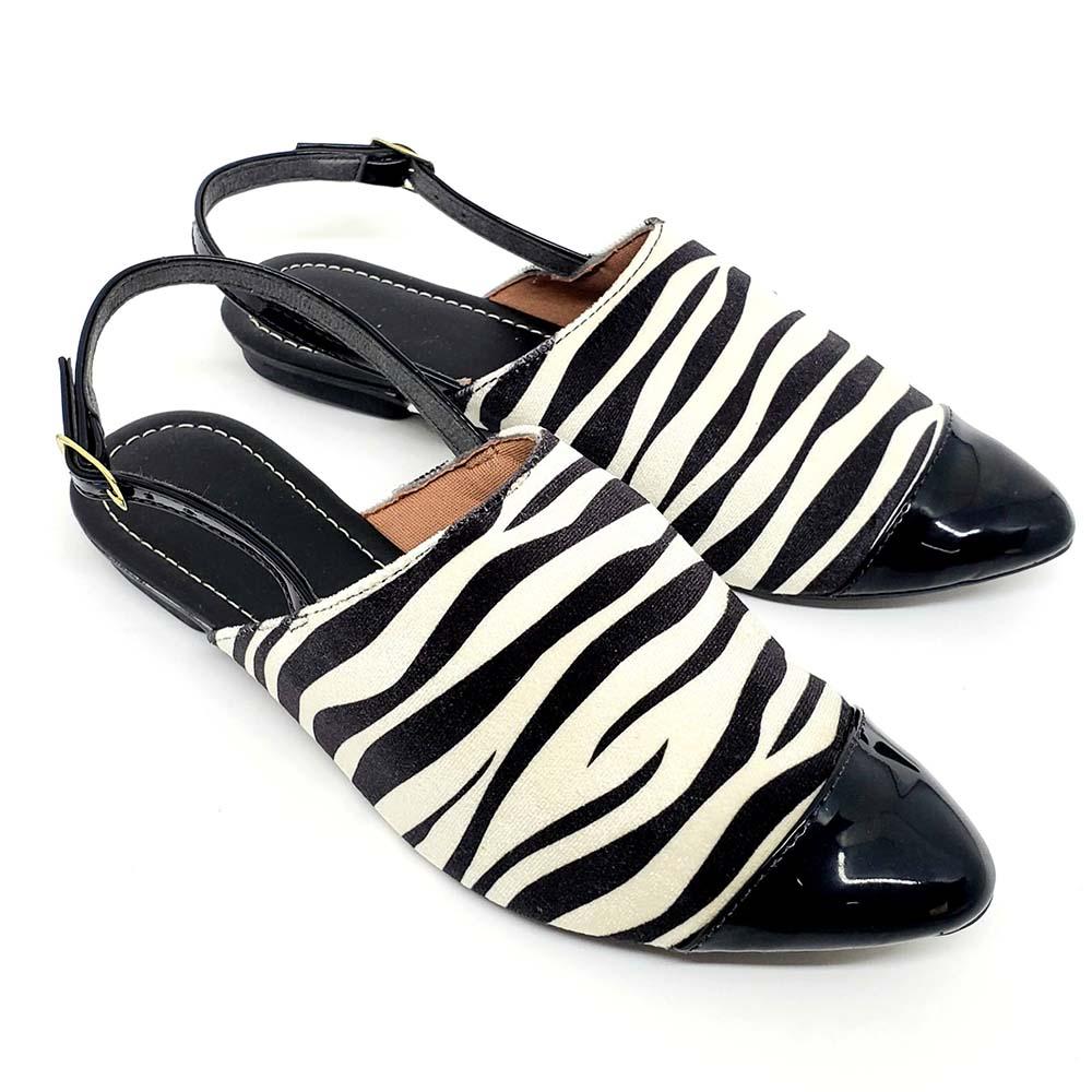 Sandália Confort Heloká Camurça Zebra/Verniz