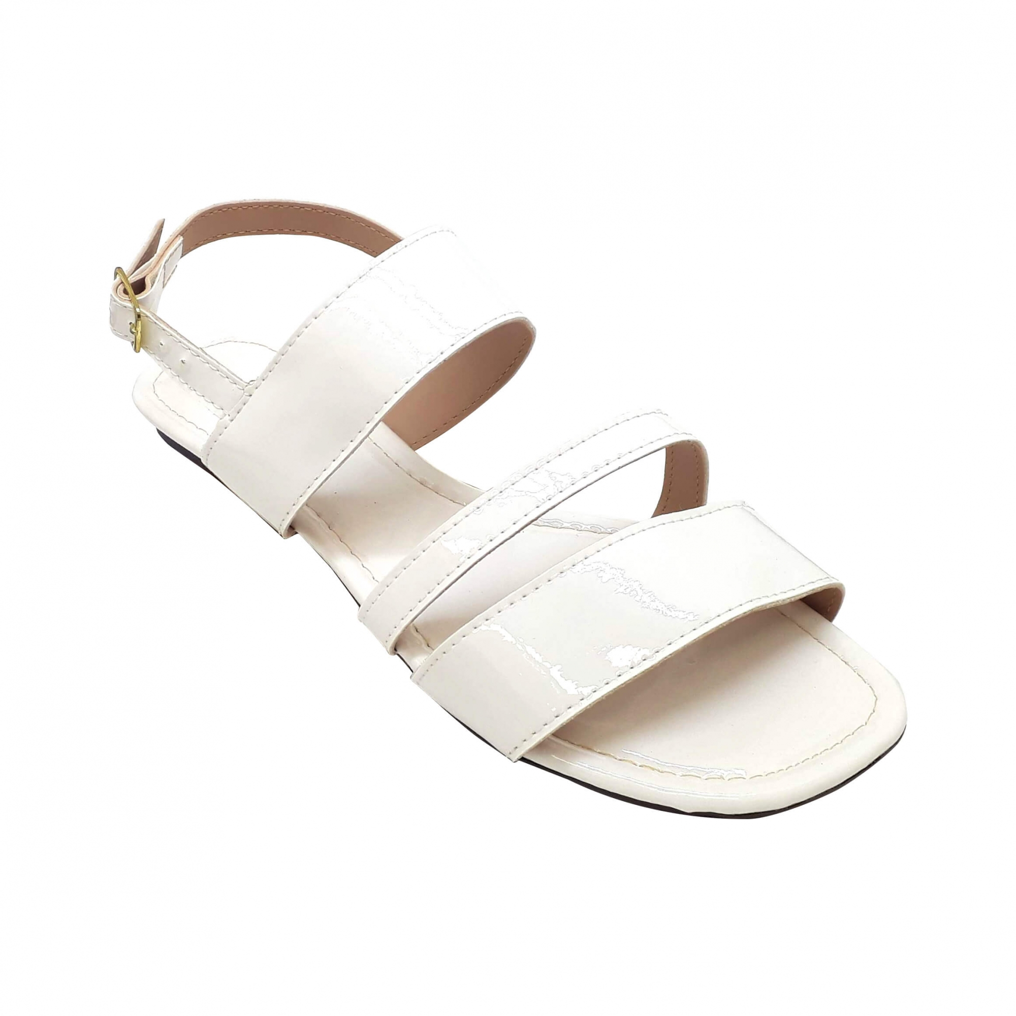 Sandália Confort Verniz Branco Perola