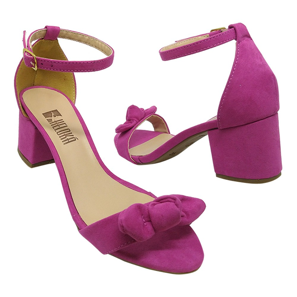 Sandália Salto  Heloká Camurça Pink Com Laço