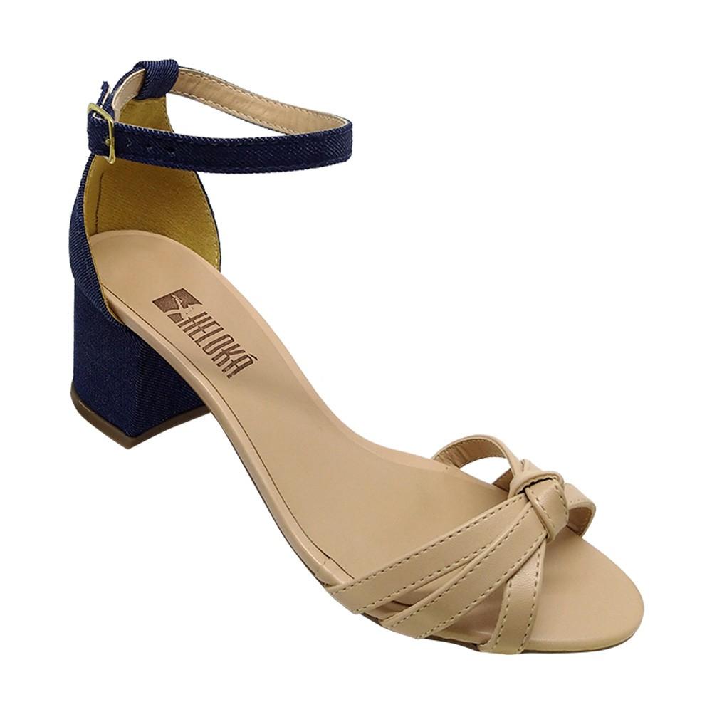 Sandália Salto Heloká Napa Rose/Jeans