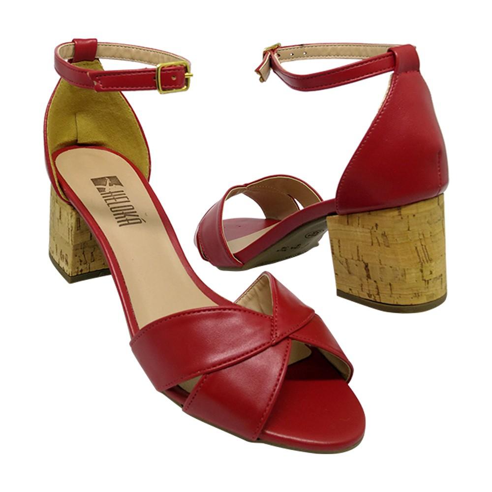 Sandália Salto Heloká Napa Vermelha