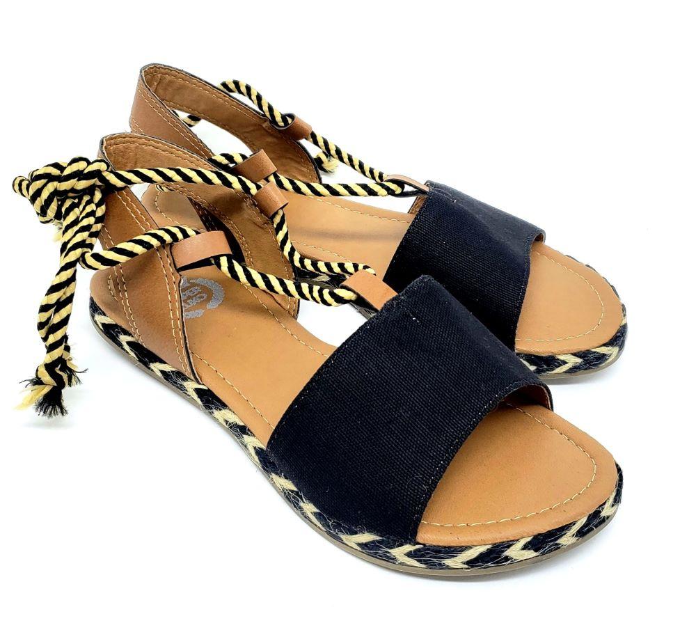 Sandália Super Luxo Lona Preta
