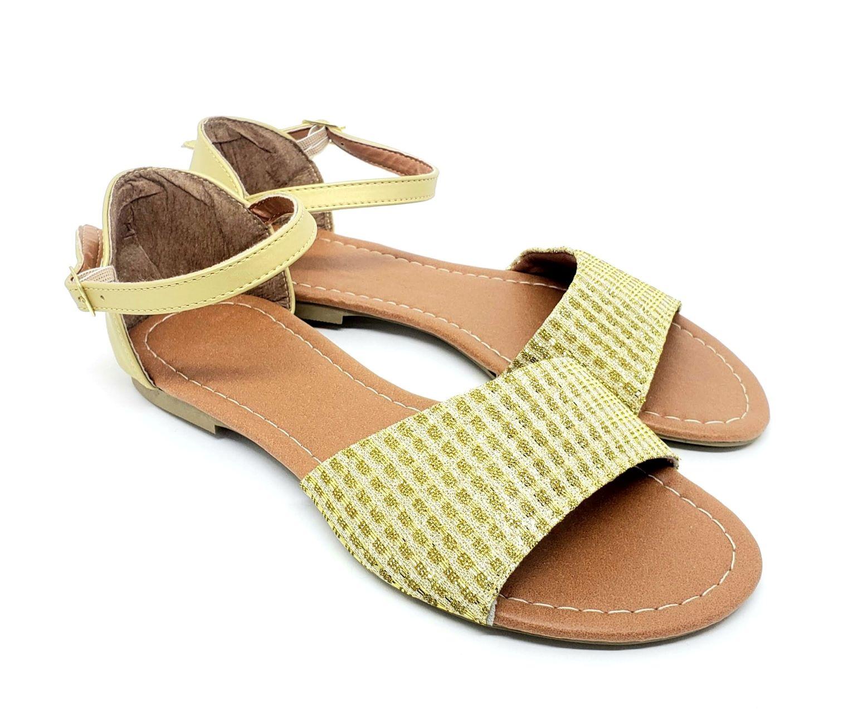 Sandália Tradicional Napa/Tecido Dourado