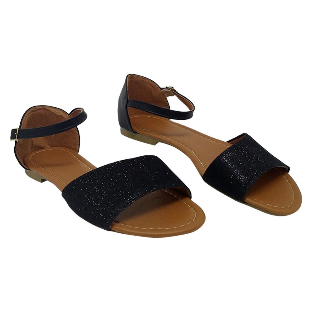 Sandália Tradicional Napa/Tecido Preto Gliter