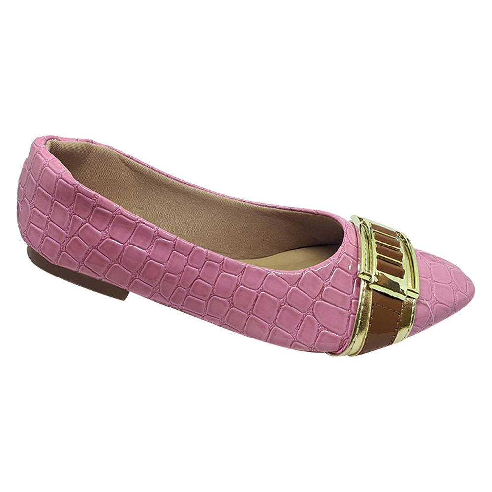 Sapatilha Confort Croco Stone Rosa Bebe c/ Fivela Dourada