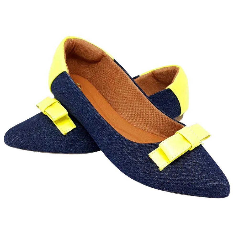 Sapatilha Confort Heloká Bico Fino Jeans Verniz Amarelo