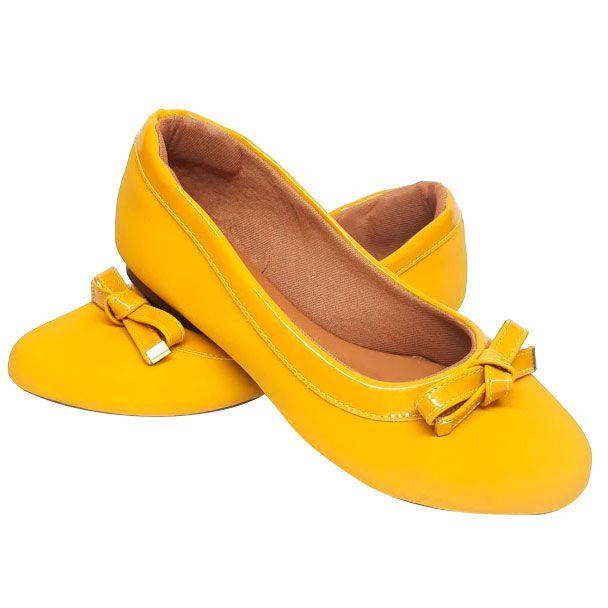 Sapatilha Confort Heloká Bico Fino Napa Verniz Amarelo