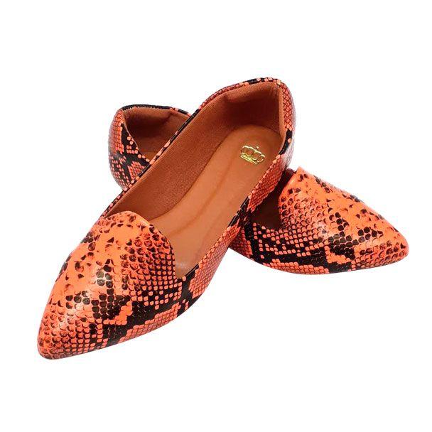 Sapatilha Confort Heloká Bico Fino Python Coral