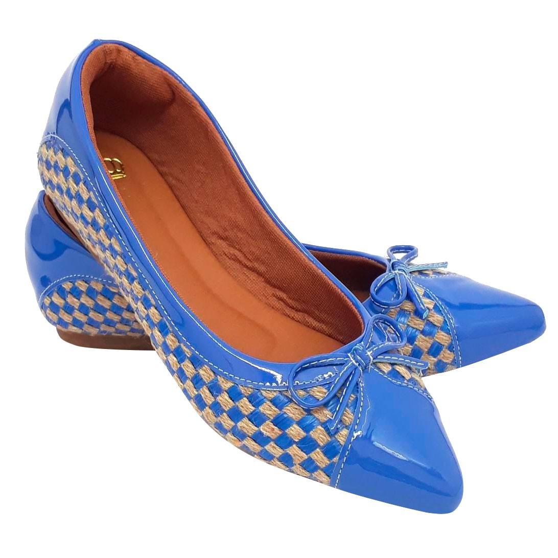Sapatilha Confort Heloká Bico Fino Verniz Azul