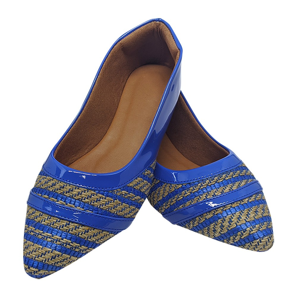 Sapatilha Confort Heloká Napa Verniz /Tecido Azul